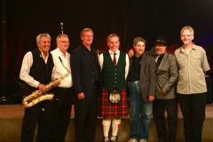 WINDSOR, ONT.; Inductees into the Windsor-Essex Music Hall of Fame at the 2014 Windsor/Essex Music Recognition Awards on Sunday, September 28, 2014. From left: Ollie Marcoux, Bob Thwaites, George Kay representing the Scottish Society of Windsor Pipe Band, Jay Butler standing in for Dale Butler, Bob Stepheson and Kevin Peterson. All proceeds from the annual event support the Windsor-Essex Crime Stoppers program. (JAY RANKIN/The Windsor Star)